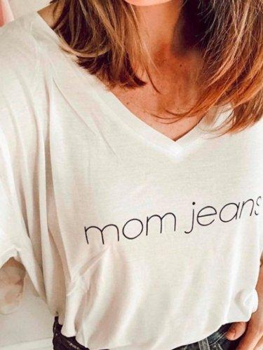 V Neck Basic Letter Shirts & Tops