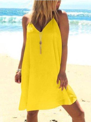 Backless Sleeveless Casual Dresses