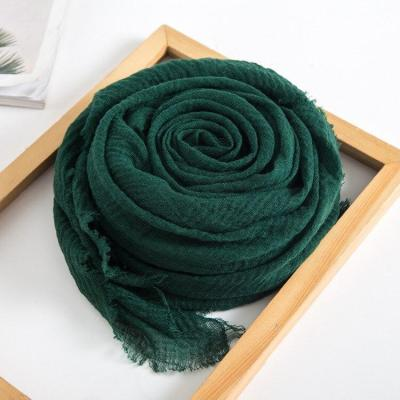 Cotton and Linen Scarves Solid Color Crumpled Short-hair Muslim Headscarves Shawl