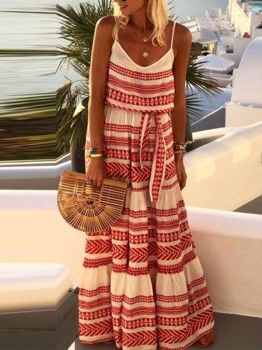 Sleeveless Stripe Maxi Holiday Dresses