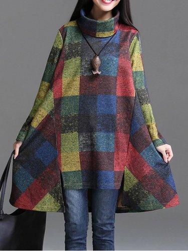 Multicolor Turtleneck Asymmetric Color-block Casual Dress