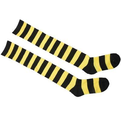 large Wide Stripe Leisure Stockings Socks  (Yellow + Black)