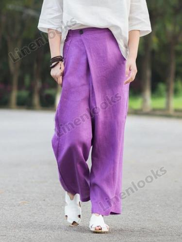 Asymmetrical Retro Linen Casual Pants Women Trousers