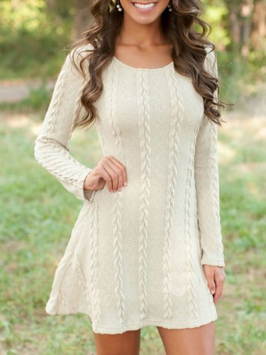 Casual Solid Knitted Crew Neck Long Sleeve Plus Size Dress
