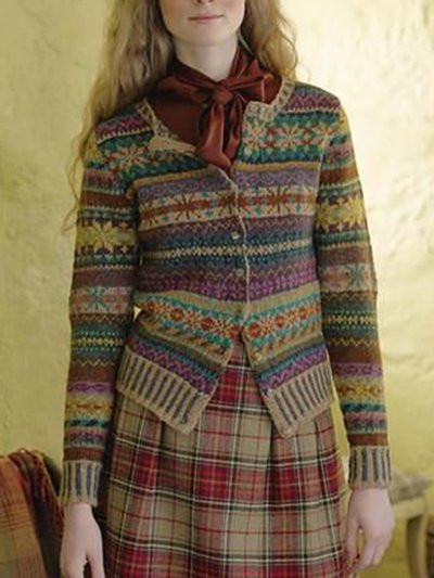 Color-Block Tribal Casual Long Sleeve Women's Cardigan
