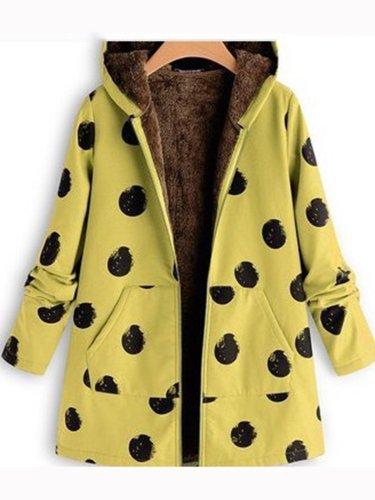 Polka Dots Casual  Long Sleeve Warm Hoodie Cotton Coat