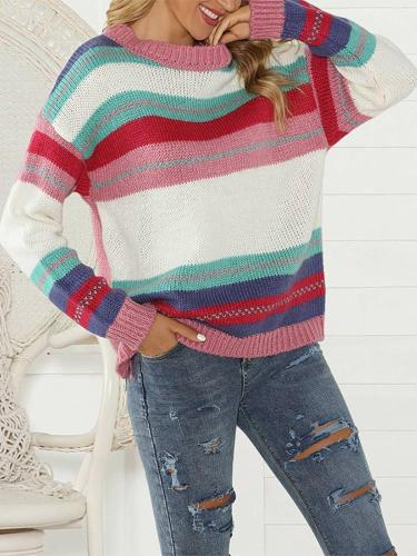 Casual Long Sleeve Colouring Striped Sweater