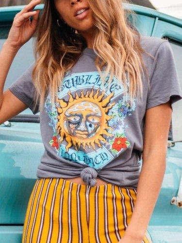 Gray Short Sleeve Cotton Shirts & Tops