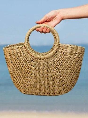 Women's Summer Beach Drawstring Woven Straw Handbag