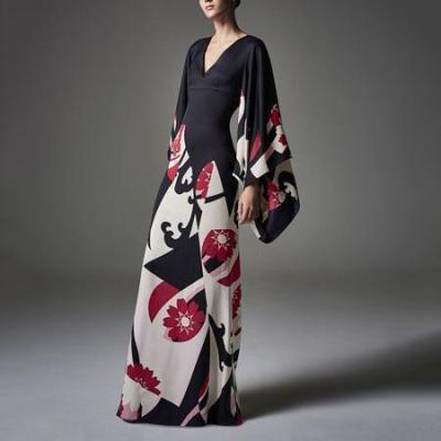 Elegant Fashion Slim Floral V Collar Flare Long Sleeve High Waist Maxi Evening Dress