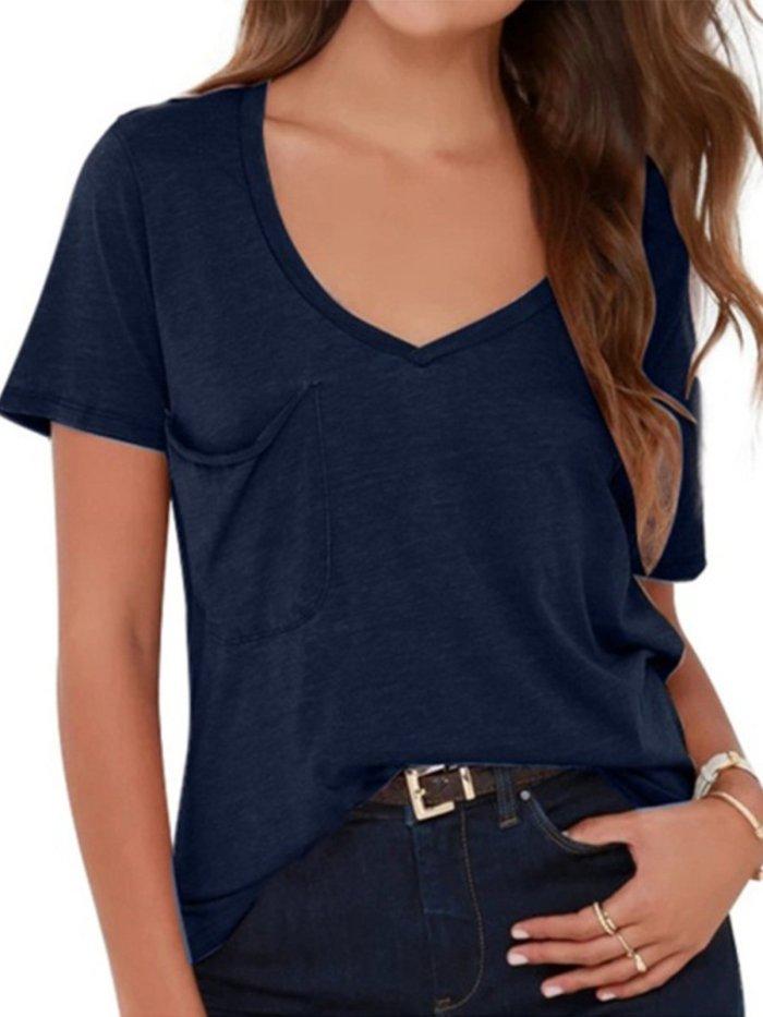 Casual V Neck Pockets Cotton-Blend Shirts & Tops