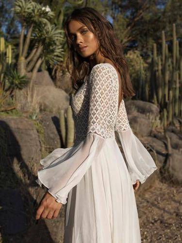 Beige V Neck Casual Maxi Dresses