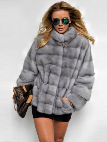 Plus Size Stand Collar Thick Faux Mink Fur Leather Parka Jacket Peacoat