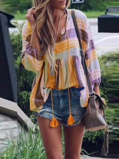 Long Sleeve Patchwork Casual Color-Block Casual Dresses