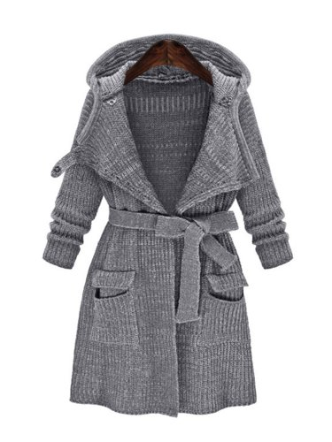 Gray Casual Knitted Solid Shift Outerwear