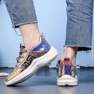 Women's Fashion Colorful Mirror Color Matching Platform Sneakers