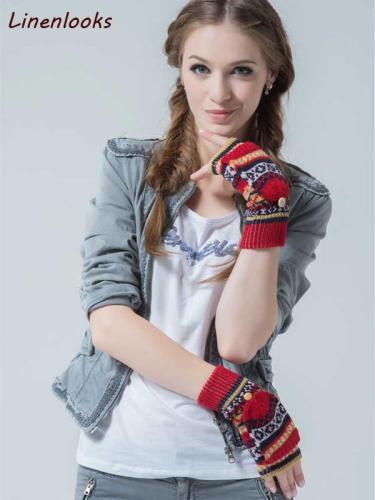 Gloves Women Fingerless Winter Knit Mitten