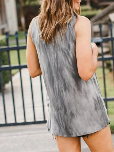 Gray Sleeveless Cotton-Blend Round Neck Shirts & Tops