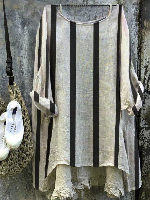 Women Top Striped Linen Long Sleeve Top Crew Neck Blouse