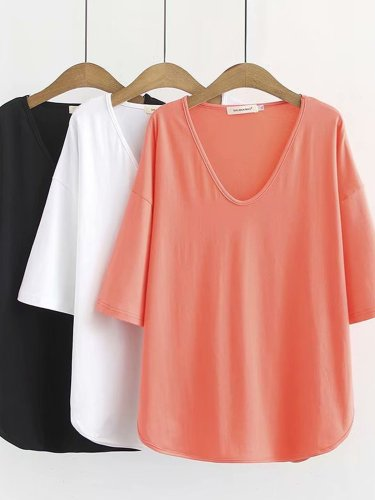 V Neck Cotton Shirts & Tops
