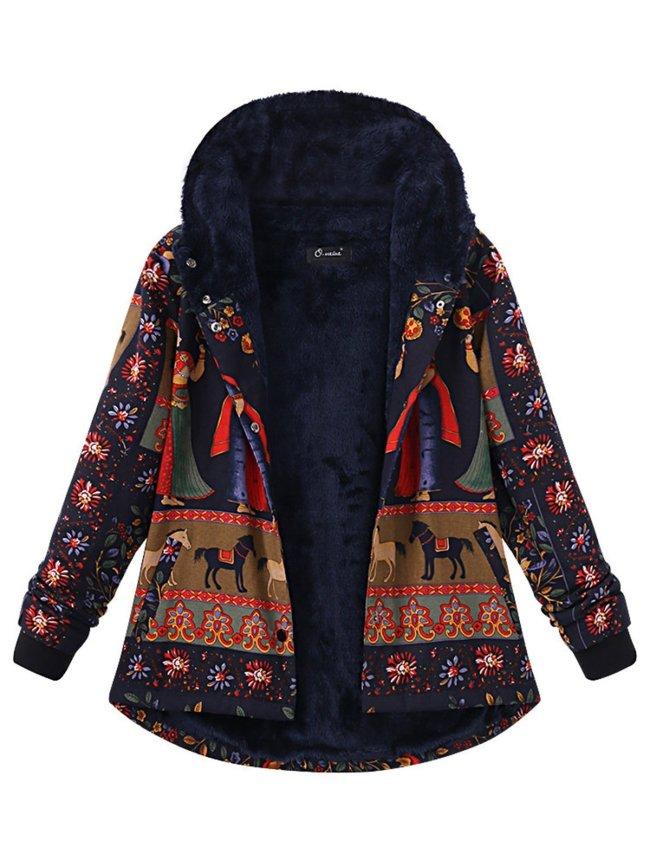 Fleece-lined Long Sleeve Hoodie Printed  Coat