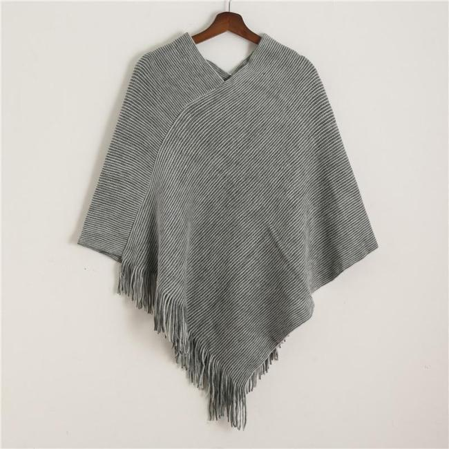 Winter Knit Women Scarf Solid Cashmere Poncho Capes for Lady High Quality Tassel Wool Ponchos