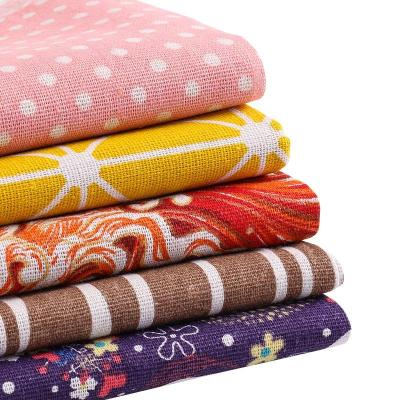 5 pieces/pack Random color linen cotton fabric sewing material patchwork fabric