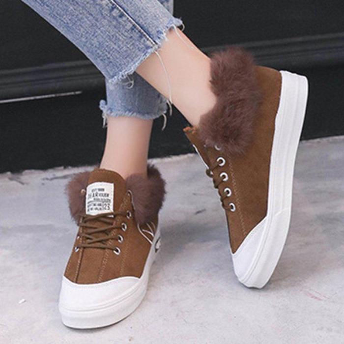 Daily Artificial Nubuck Flat Heel Flats Women Casual Fur Sneakers Athletic Shoes