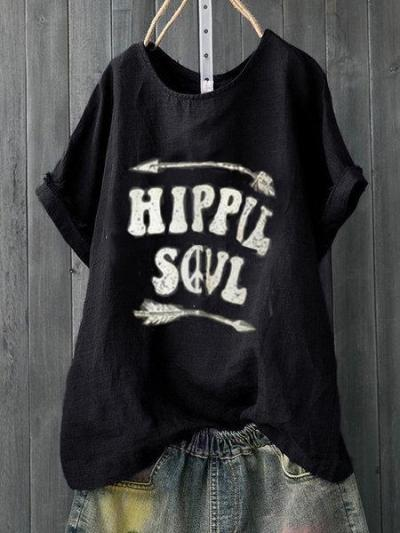 Letter Printed Casual Crew Neck Shirts & Tops