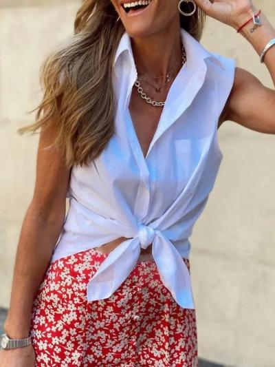 White Sleeveless Simple Solid Shirts & Tops