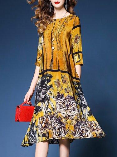 Yellow Shift Half Sleeve Midi Dress