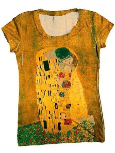 Women Yellow Vintage Round Neck Shirts & Tops