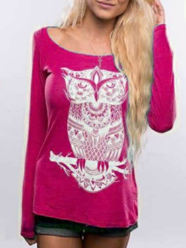 Owl Printed Long Sleeve Casual Animal Shift T-Shirts