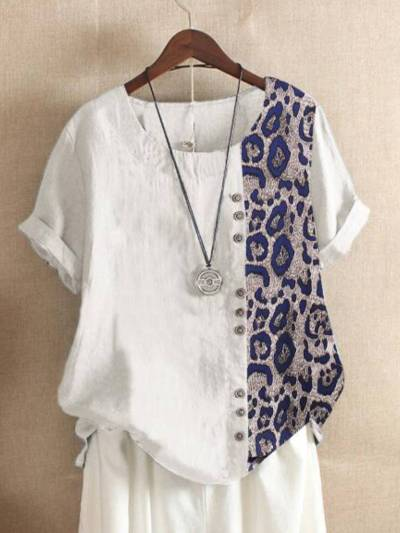 Leopard-Print Cotton-Blend Casual Short Sleeve Shirts & Tops