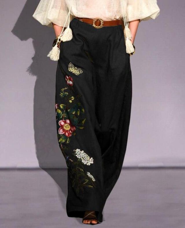 Print Trousers Women Casual Wide Leg Pants Autumn High Elastic Waist Pants Loose Party Pantalon Femme Long Palazzo