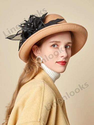Autumn Winter Fashion Elegant Dome Ladies Woolen Hat Feather Mesh Gauze Flower Felt Hat