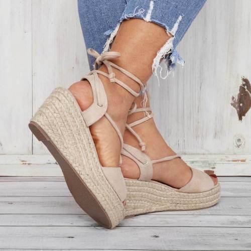 Summer Lace-Up Sandals Espadrilles Wedge Sandals