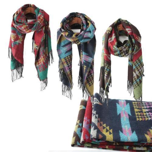 Bohemian retro geometric ethnic jacquard long shawl knitted scarf