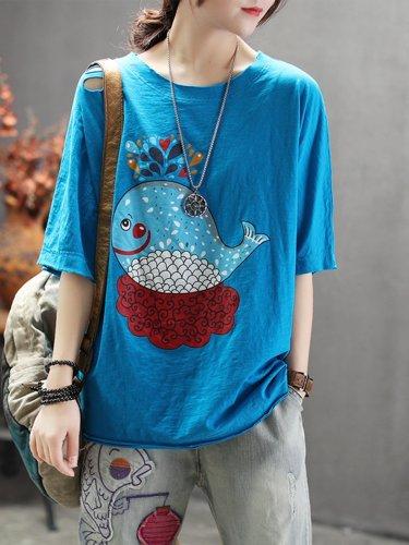 Printed A-Line Cotton-Blend Shirts & Tops