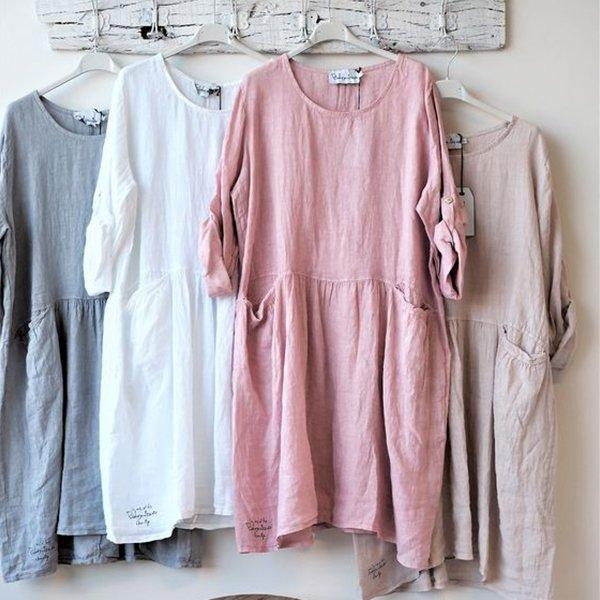 Half Sleeve Patchwork Pockets Dresses