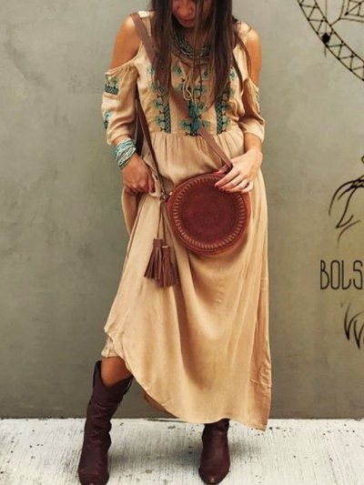 Bohemian cotton casual loose dress
