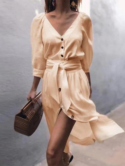 Cotton-Blend Plain Plunging Neck Boho Dresses