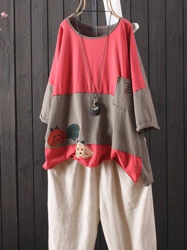 Pockets Short Sleeve Cotton-Blend Shirts & Tops