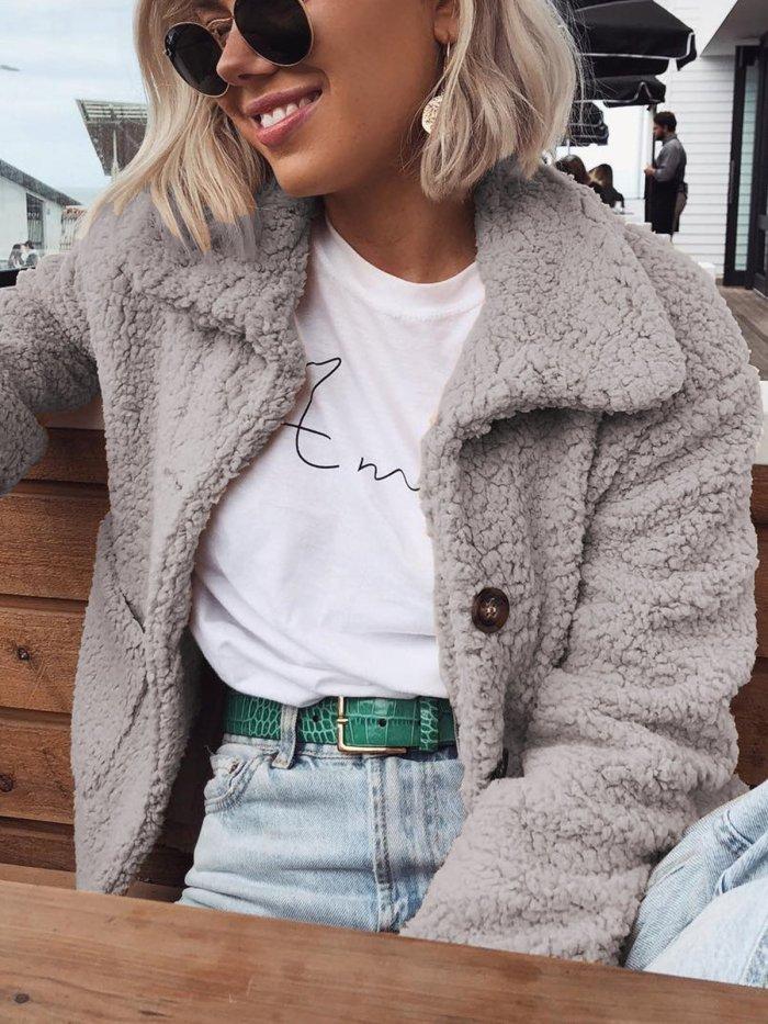 Fleece Fuzzy Wool Sherpa Coat Sweet Pockets Teddy Bear Coats