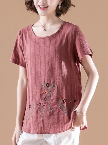 Short Sleeve Casual Cotton-Blend Embroidered Causal Tops