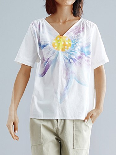 Plus Size Women Floral Short  Sleeve  V-Neck Cotton And Linen Loose Casual Top