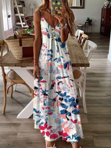 Printed Maxi Holiday Dress