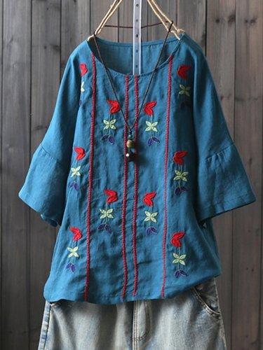 Round Neck Short Sleeve Vintage Shirts & Tops