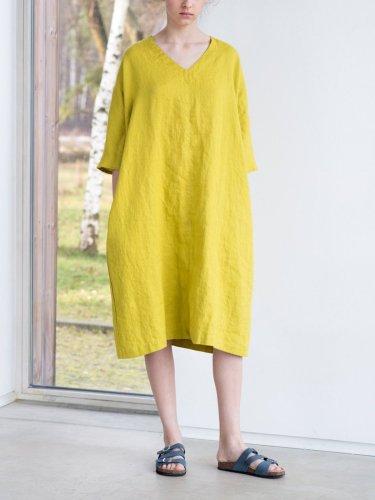 Washed linen Oversize V Neckline Loose Cozy Linen Dress