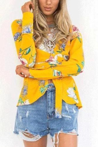 Fashion V Collar Flora Lprinted Suit Jacket